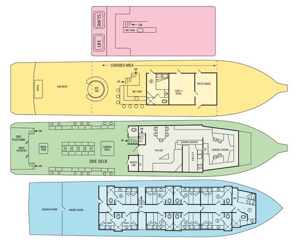 Belize Aggressor III Liveaboard Deckplan Grundriss