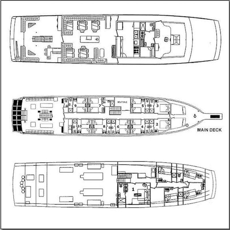 Belize Aggressor IV Liveaboard Deck Plan Grundriss