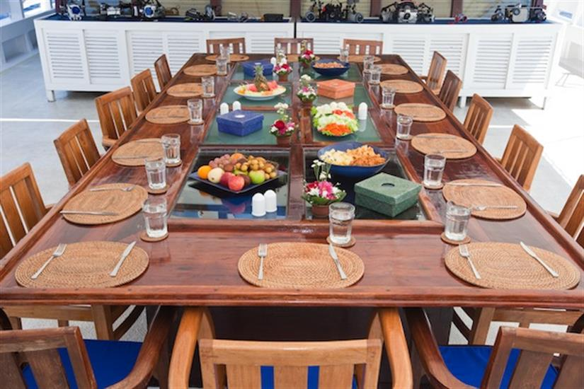 Intimate outdoor dining aboard the Indo Aggressor Liveaboard