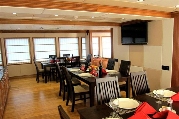 Indoor Dining Area - MV Virgo Liveaboard