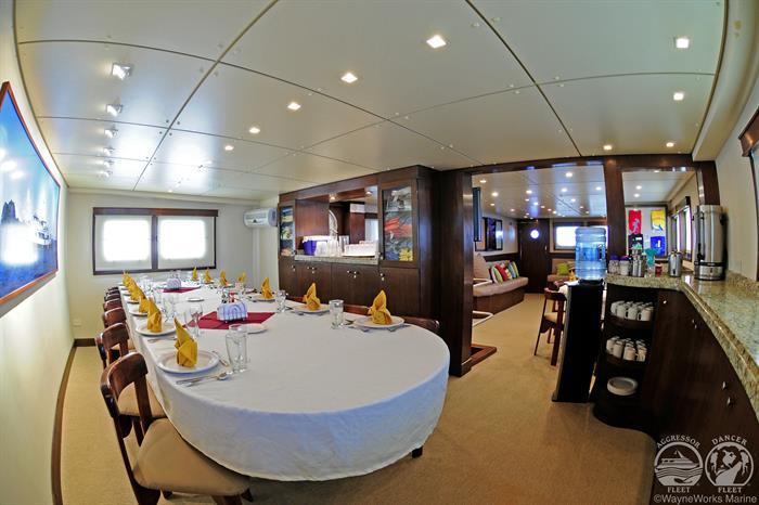 Okeanos Aggressor Liveaboard Dining Area