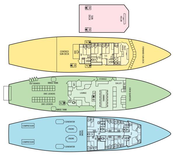 Okeanos Aggressor Liveaboard Deck Plan floorplan