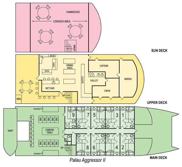 Palau Aggressor II Liveaboard floorplan