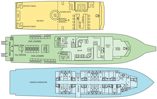 Turks and Caicos Aggressor II floorplan