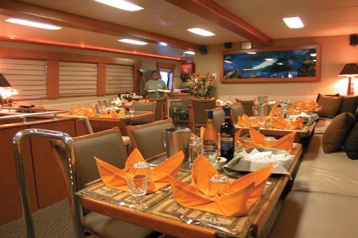 Indoor dining Turks and Caicos Aggressor Liveaboard