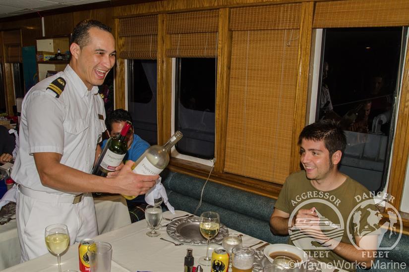 Table service aboard the Okeanos Aggressor II