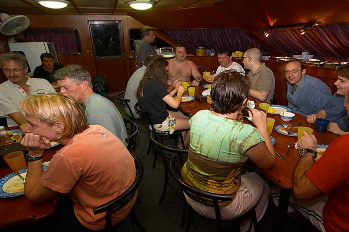Dinner time aboard the Mermaid II Liveaboard