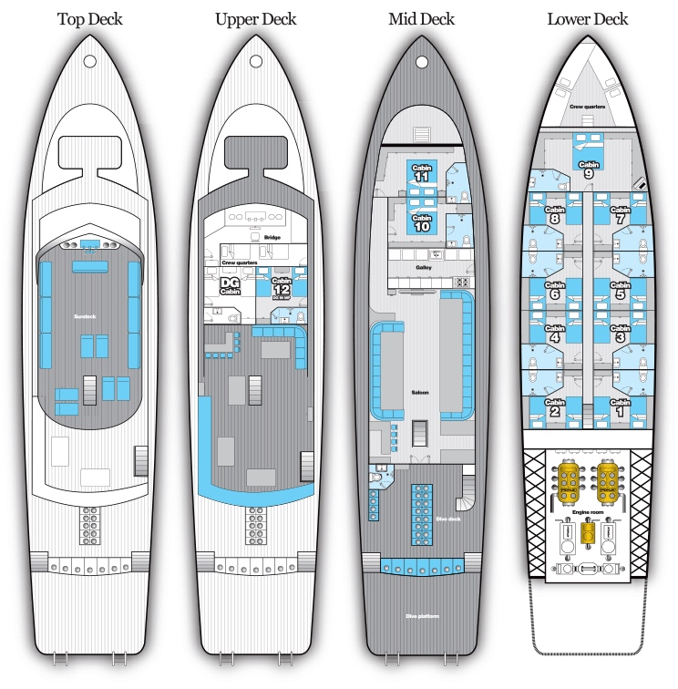 Blue Fin Deck Plan Grundriss