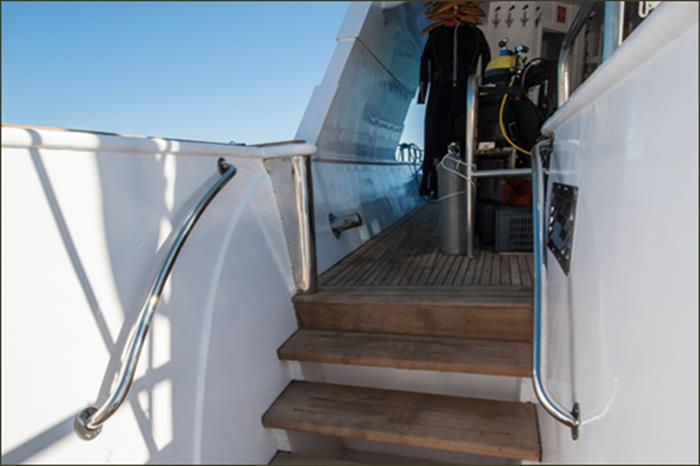 Dive deck and platform onboard Blue Fin Liveaboard