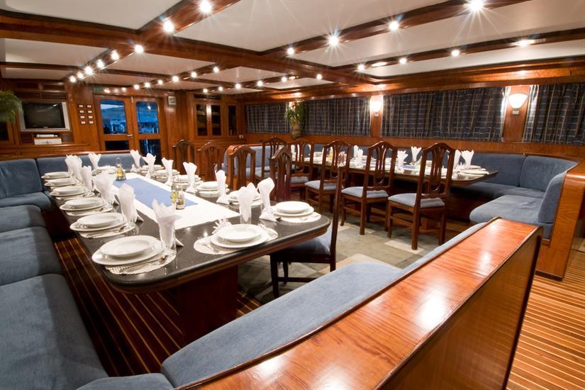 Dining area onboard Blue Horizon Liveaboard