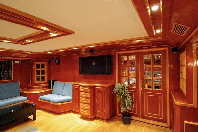 Comfortable salon onboard Blue Melody