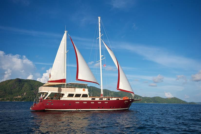 Sails up in the Seychelles - Galatea Liveaboard