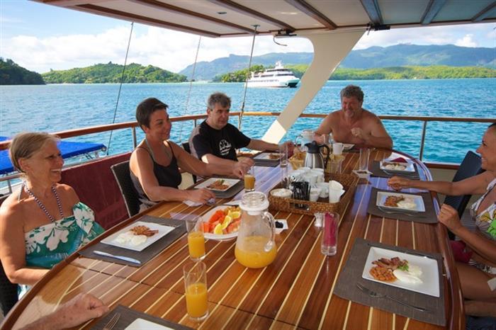 Fine dining onboard Galatea Liveaboard