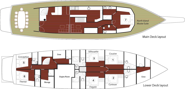 Galatea Liveaboard Deck plan Grundriss