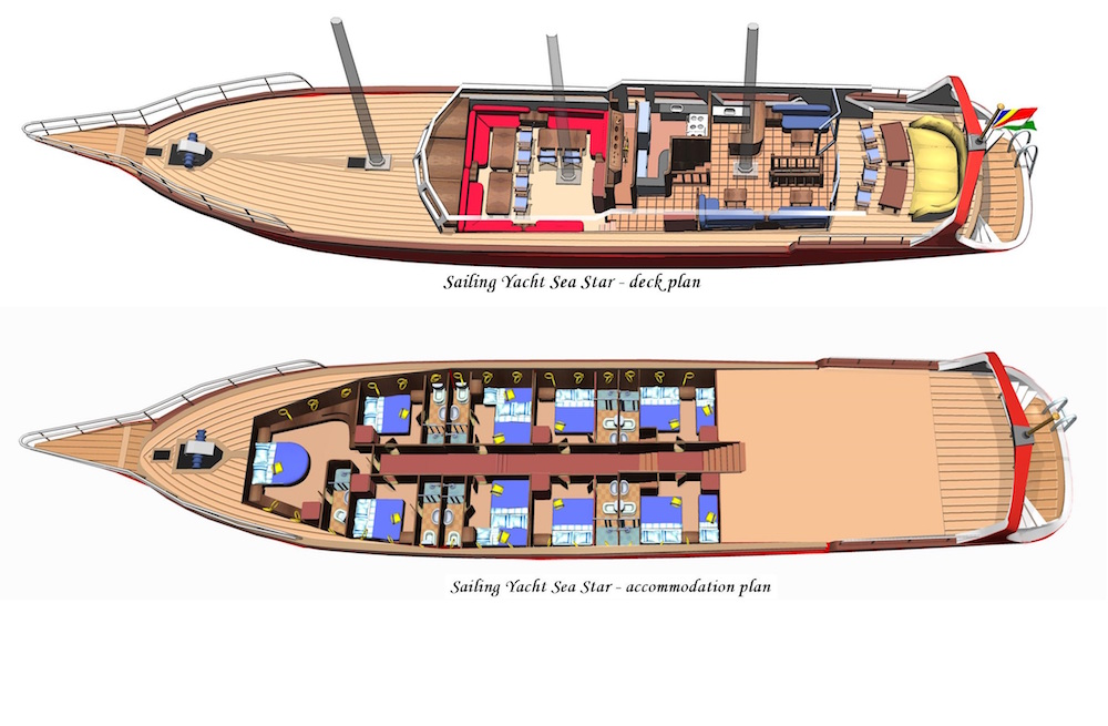 Sea Star Liveaboard deck plan floorplan