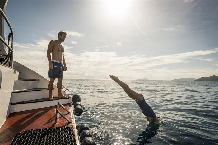 Take a dip to cool off - Sea Star Liveaboard, Seychelles