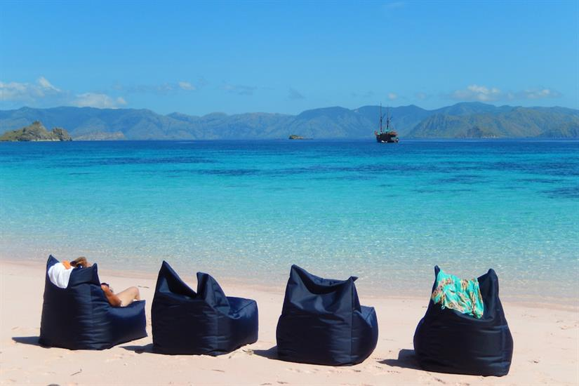 Relaxing on the beach in Indonesia with Tiger Blue