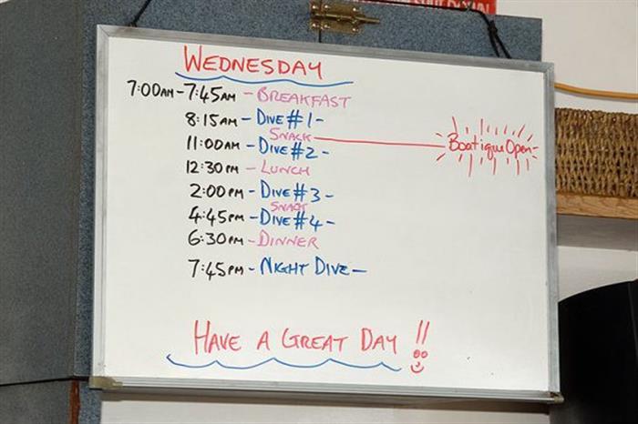Dive schedule Caribbean Explorer II
