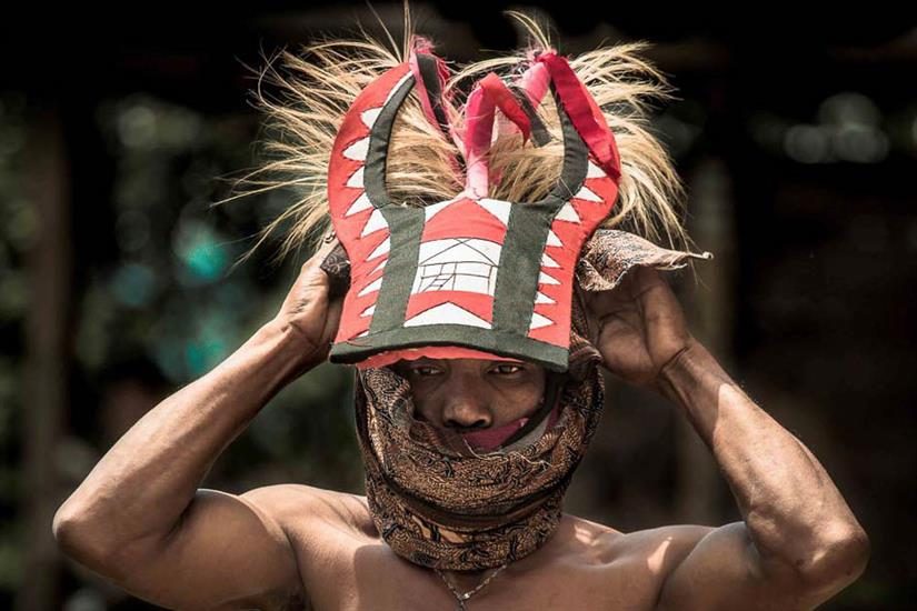 "Traditional headwear for ""Caci"" - Katharina Liveaboard"