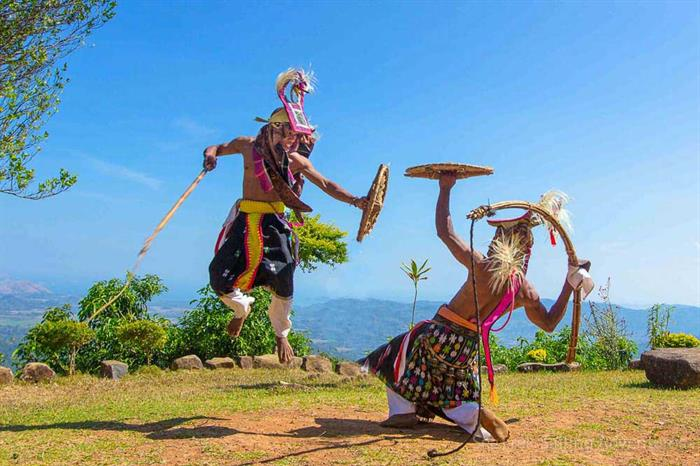 "Locals performing ""Caci"" in Melo, Indonesia"