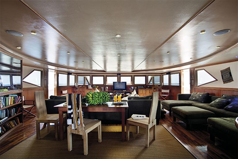 Lounge area onboard Duke of York Liveaboard