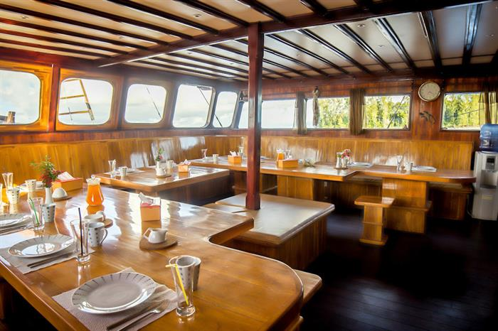Dining area onboard Euphoria Liveaboard