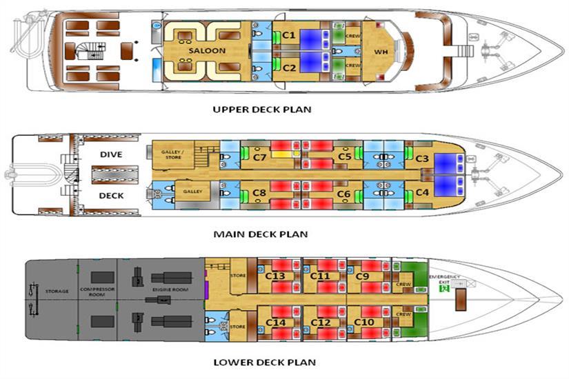 White Manta Liveaboard Deck Plan