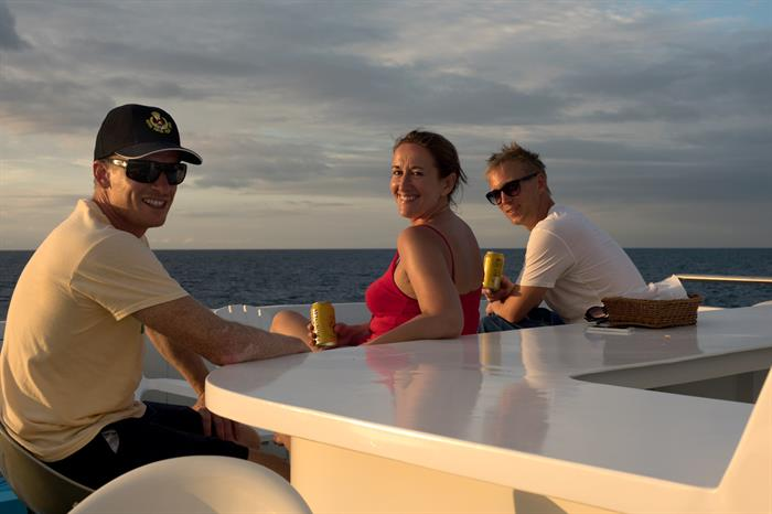 Relaxing aboard the Galapagos Master Liveaboard