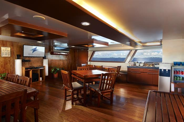 Indoor lounge area Solitude One Liveaboard