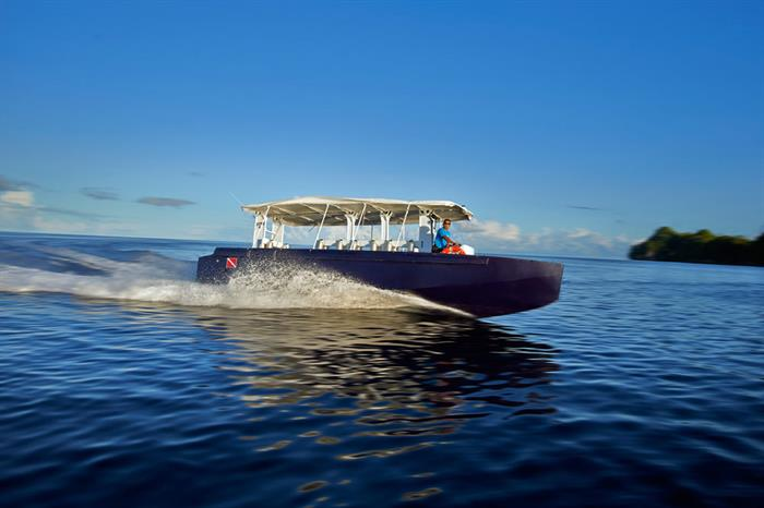 Dive skiff/tender from Solitude One Liveaboard