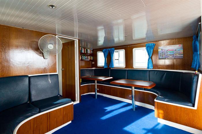 Salon area onboard Giamani Liveaboard