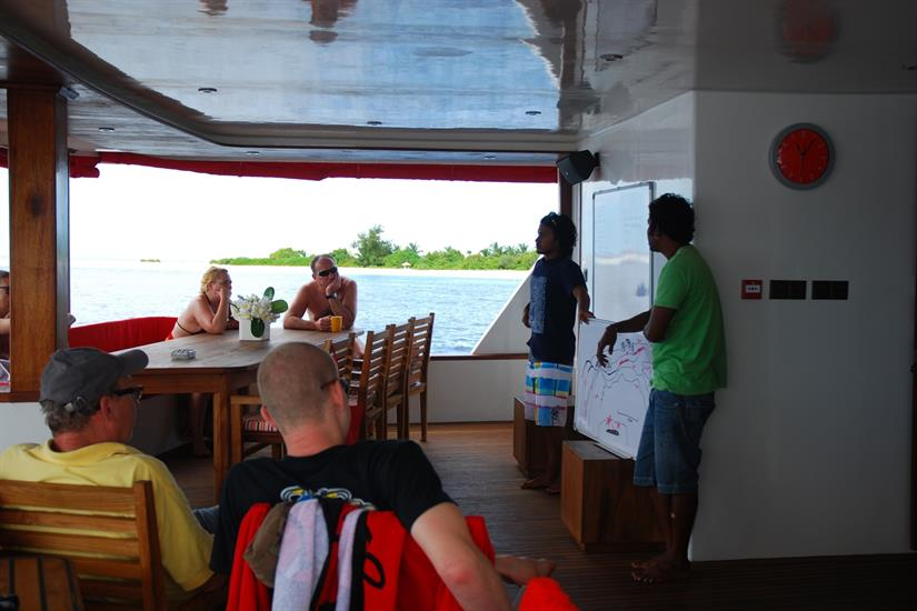 Dive briefing aboard the MV Theia