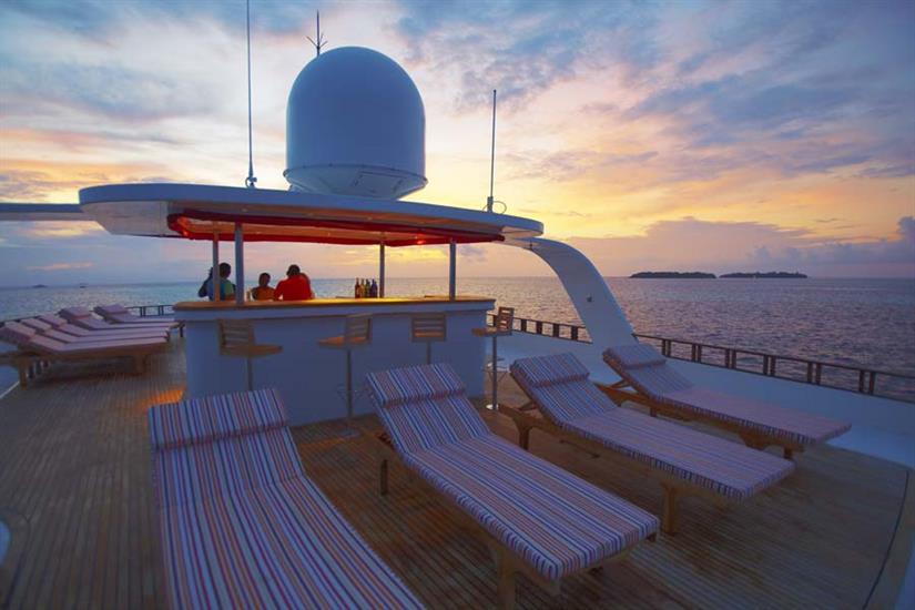 Sun deck and outdoor bar - MV Theia
