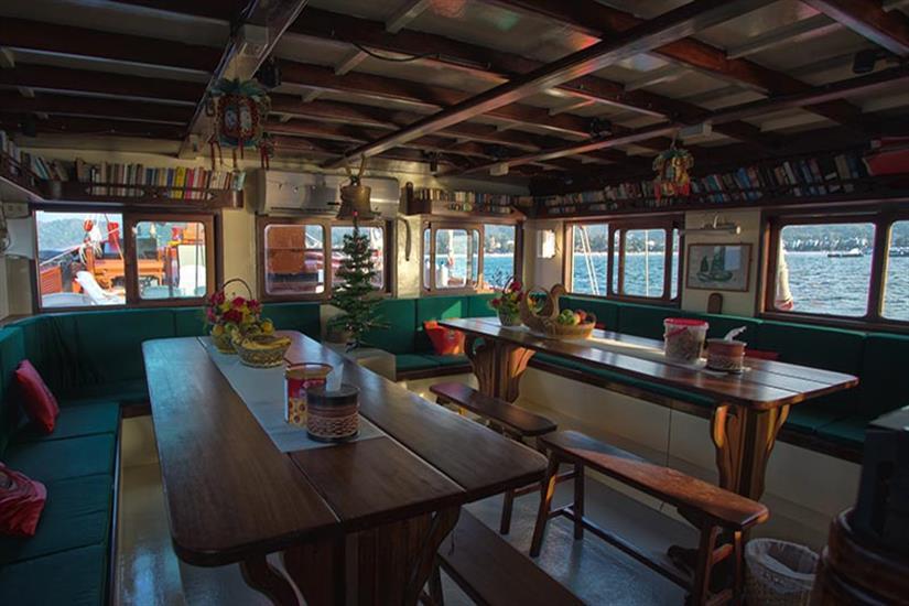 Indoor Dining Area - The Junk Liveaboard