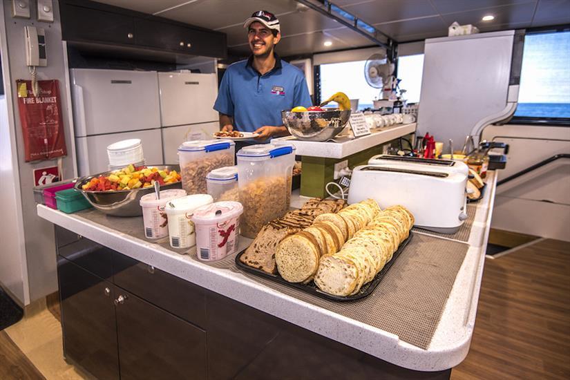 Meals prepared onboard ScubaPro III liveaboard