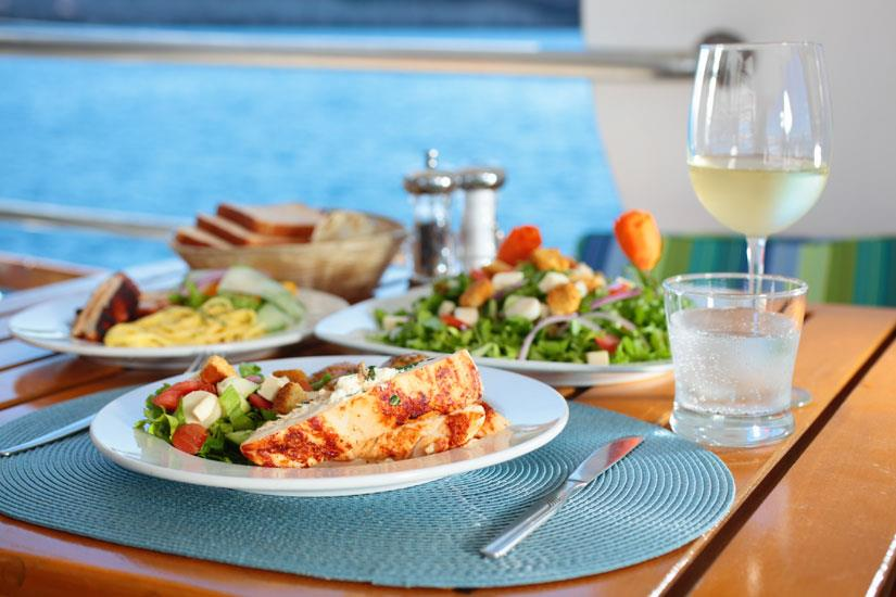 Delicious food served aboard the MV Valentina