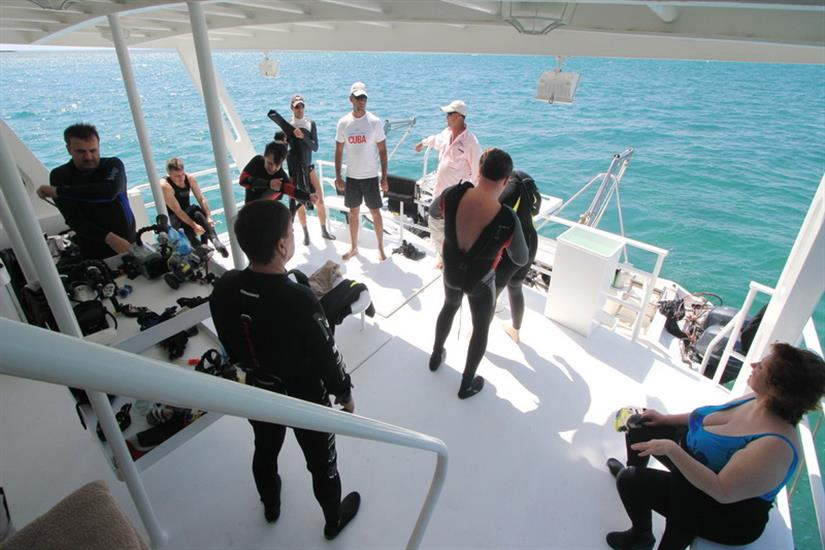 Gearing up for the dive - Avalon I