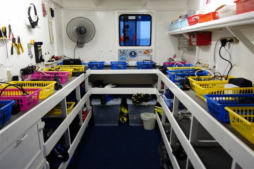 Camera storage and charging room Bilikiki Liveaboard