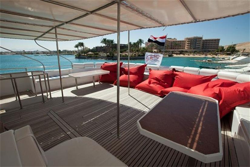 Relax on the sun deck onboard - Red Sea Adventurer