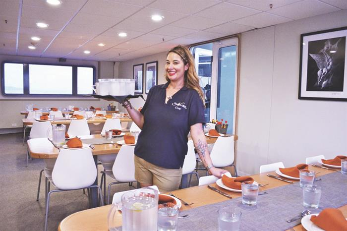 Dining area onboard Nautilus Belle Amie