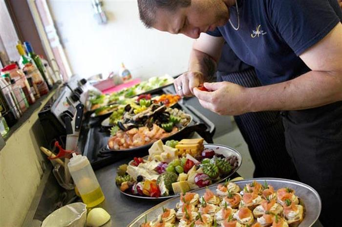 A wide variety of food prepared and served onboard