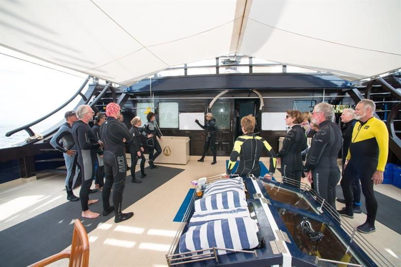 Dive briefing aboard the Dewi Nusantara