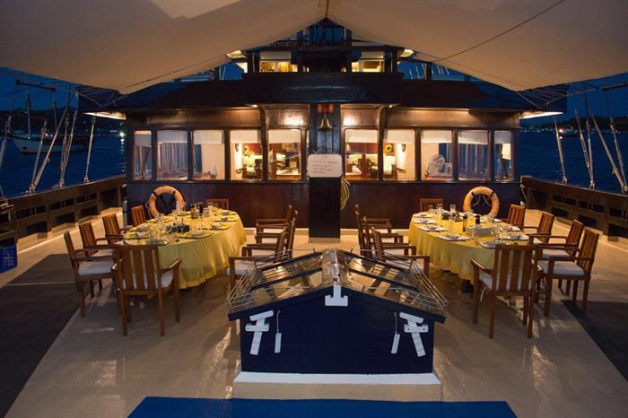 Outside dining room Dewi Nusantara Liveaboard Indonesia