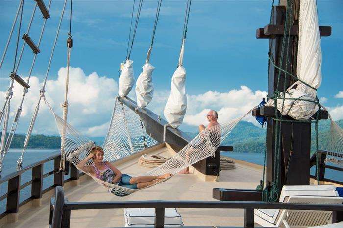 Outdoor relaxation aboard the Dewi Nusantara Dive Liveaboard Indonesia