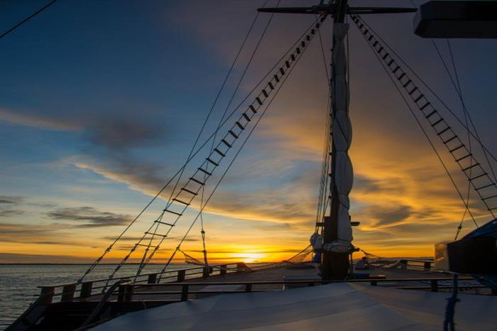 Sunset aboard the Dewi Nusantara Liveaboard Indonesia