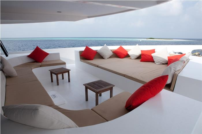Lounge area perfect for sunset drink aboard Manta Cruise Liveaboard