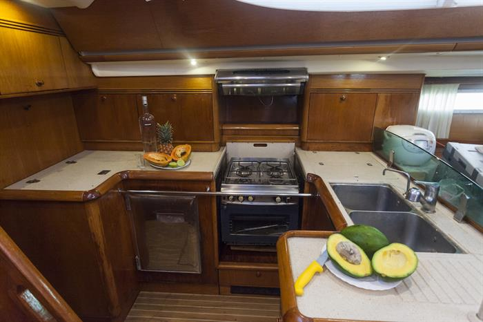 Kitchen area aboard Vision III