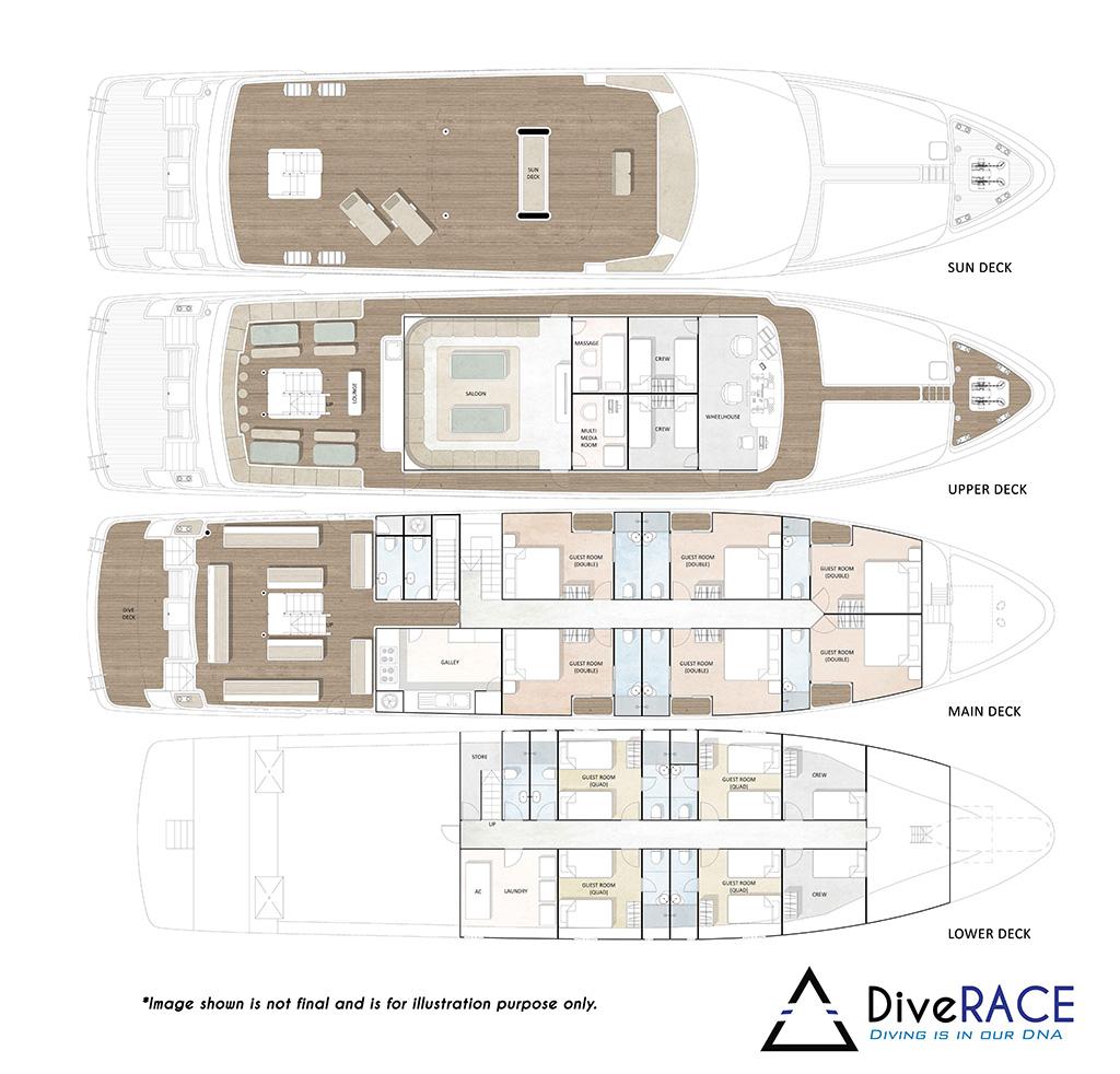 DiveRACE Class E Liveaboard Deck Plan Grundriss