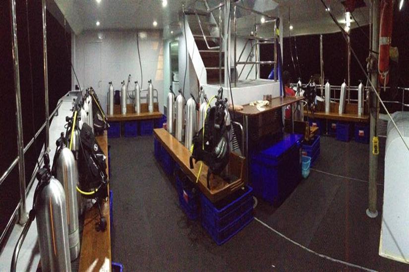 Dive Deck aboard the MV DiveRACE Class E Liveaboard