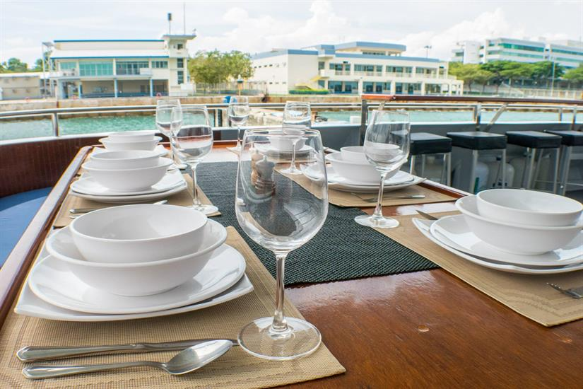 Dining aboard the MV DiveRACE Class E Dive Liveaboard